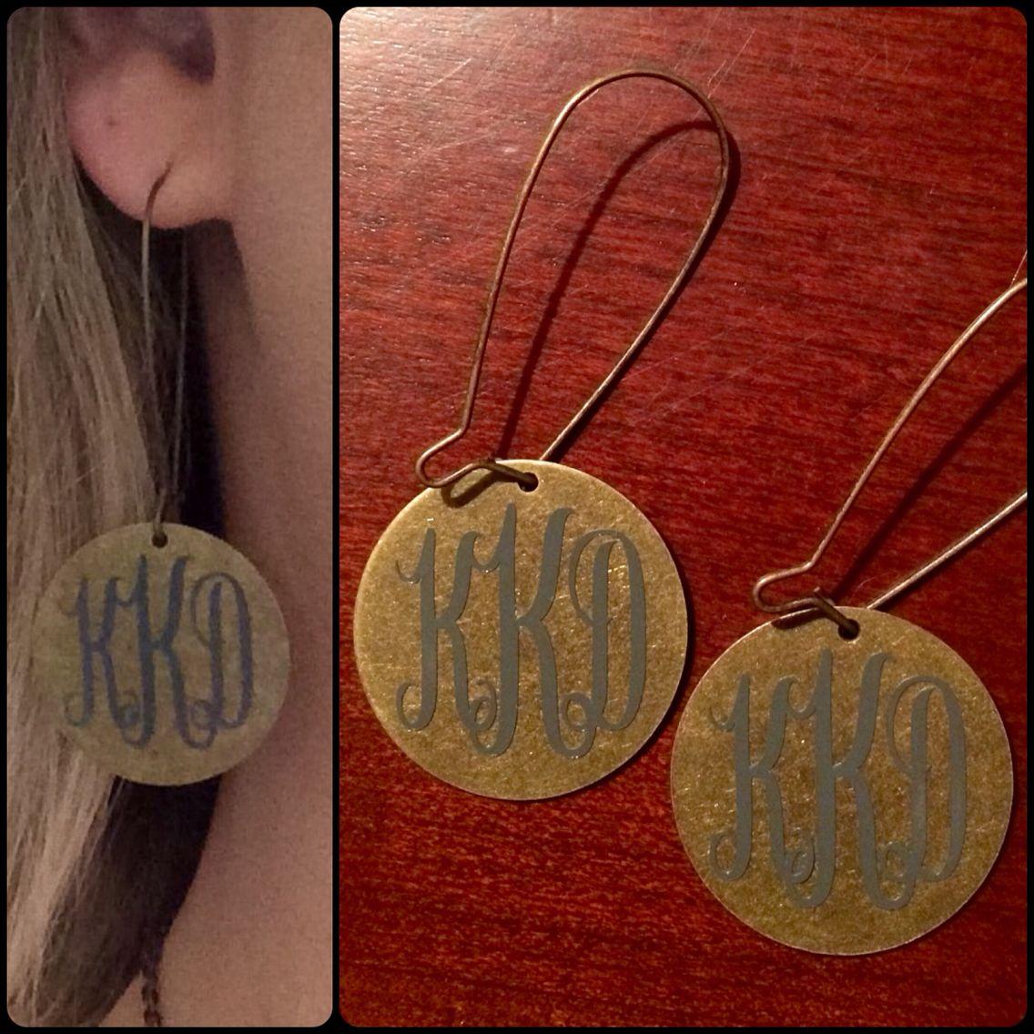 Adhesive Vinyl Monogram Earrings Monogram Earrings Monogrammed Earrings Vinyl Leather Earrings