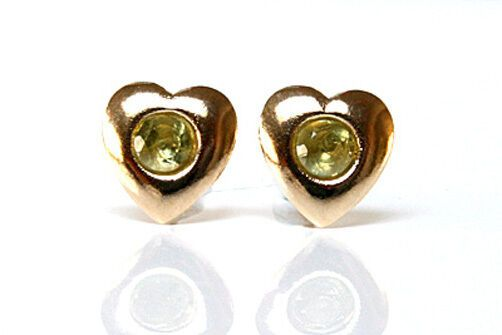 9ct Gold Peridot Heart Stud Earrings Gift Boxed Made in UK