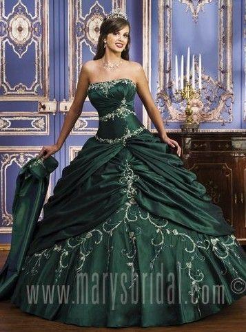 Strapless Applique Green&Black Ball Gown Wedding Dress Prom ...