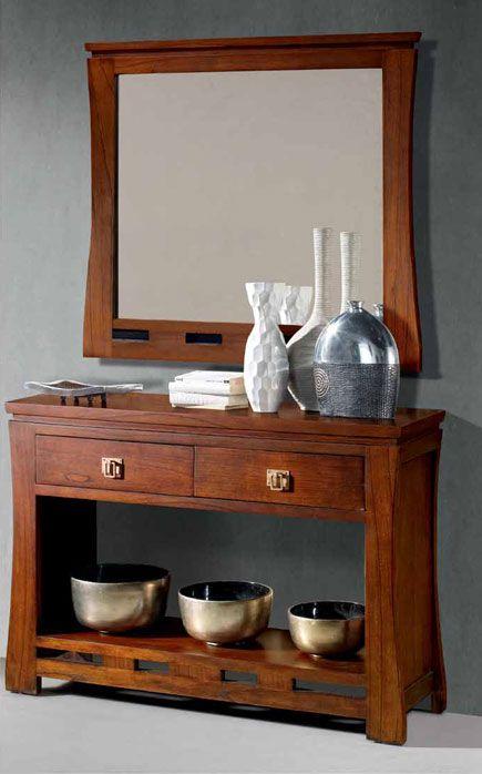 Entrada consola o espejo himalaya entrada consola y for Espejo pared madera