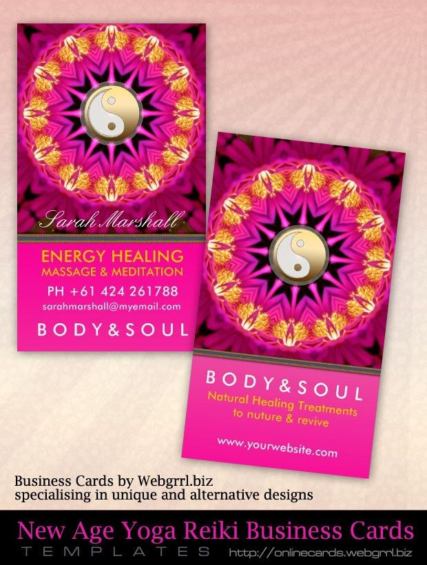 New energy healing holistic pink gold customizable business cards new age business cards colourmoves
