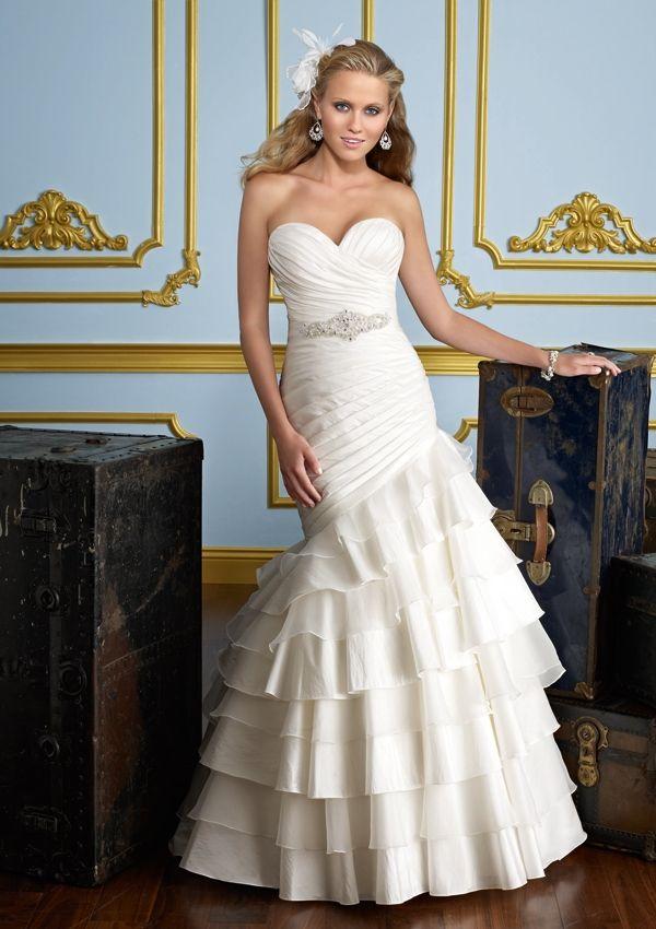 white taffeta mermaid wedding gown