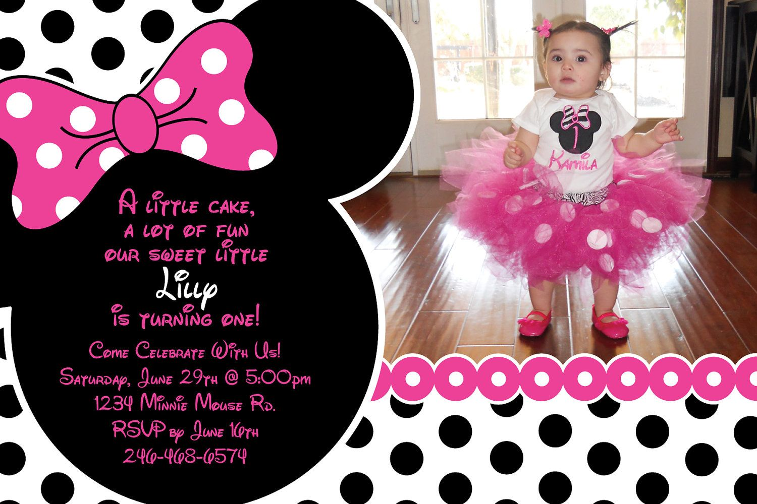 Pink and Black Polka Dot Minnie Mouse Invitation OR Thank