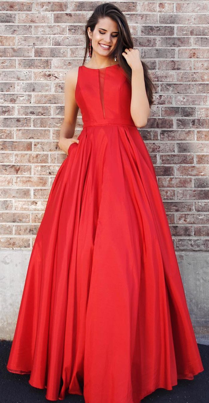 red long prom dress with pockets elegant red long evening