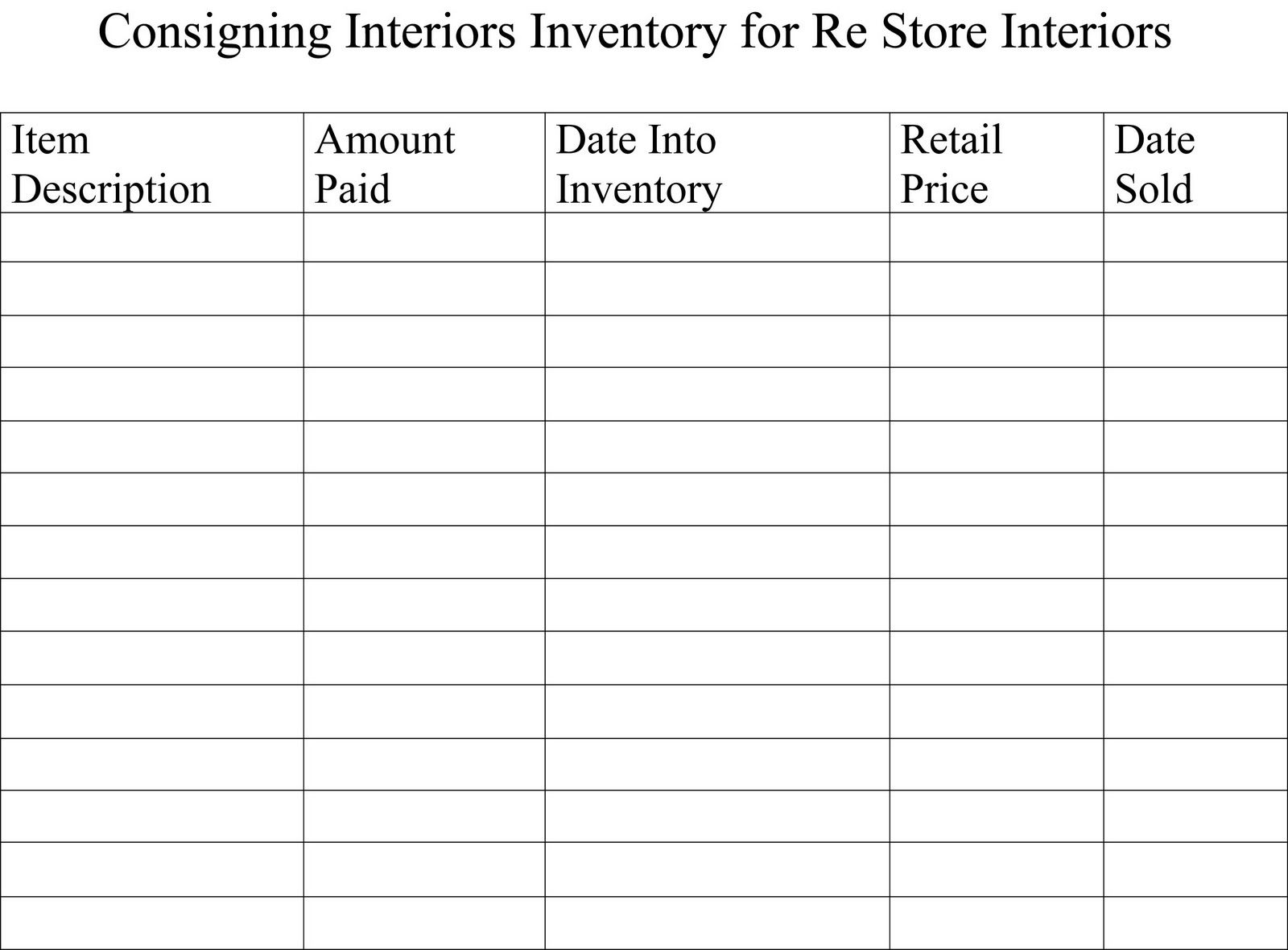 Inventory Sheets And My Booth Printables Pinterest