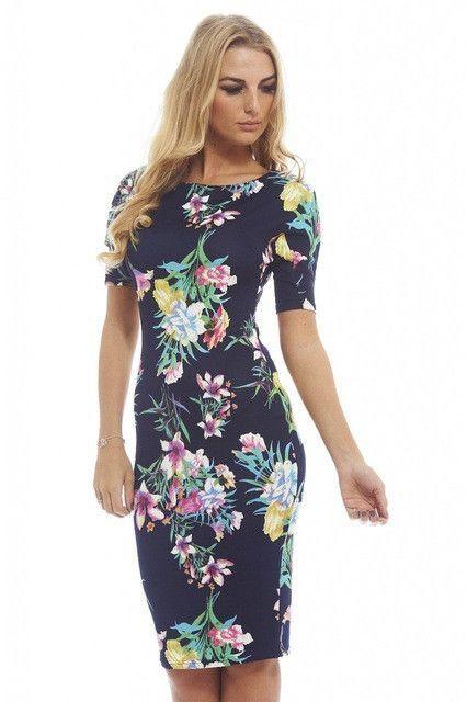 2f5c576c0d Women Dress Elegant Floral Print Work Business Casual Party Summer Sheath  Vestidos 106-12