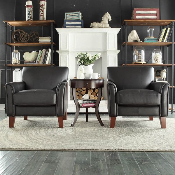 TRIBECCA HOME Uptown Modern Dark Brown Faux Leather Accent Chair ...