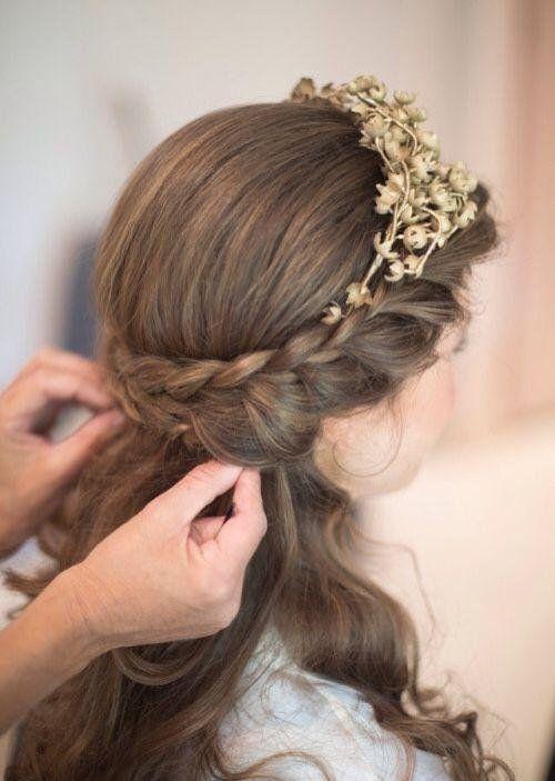 Peinados para primera comunion cabello largo 2019