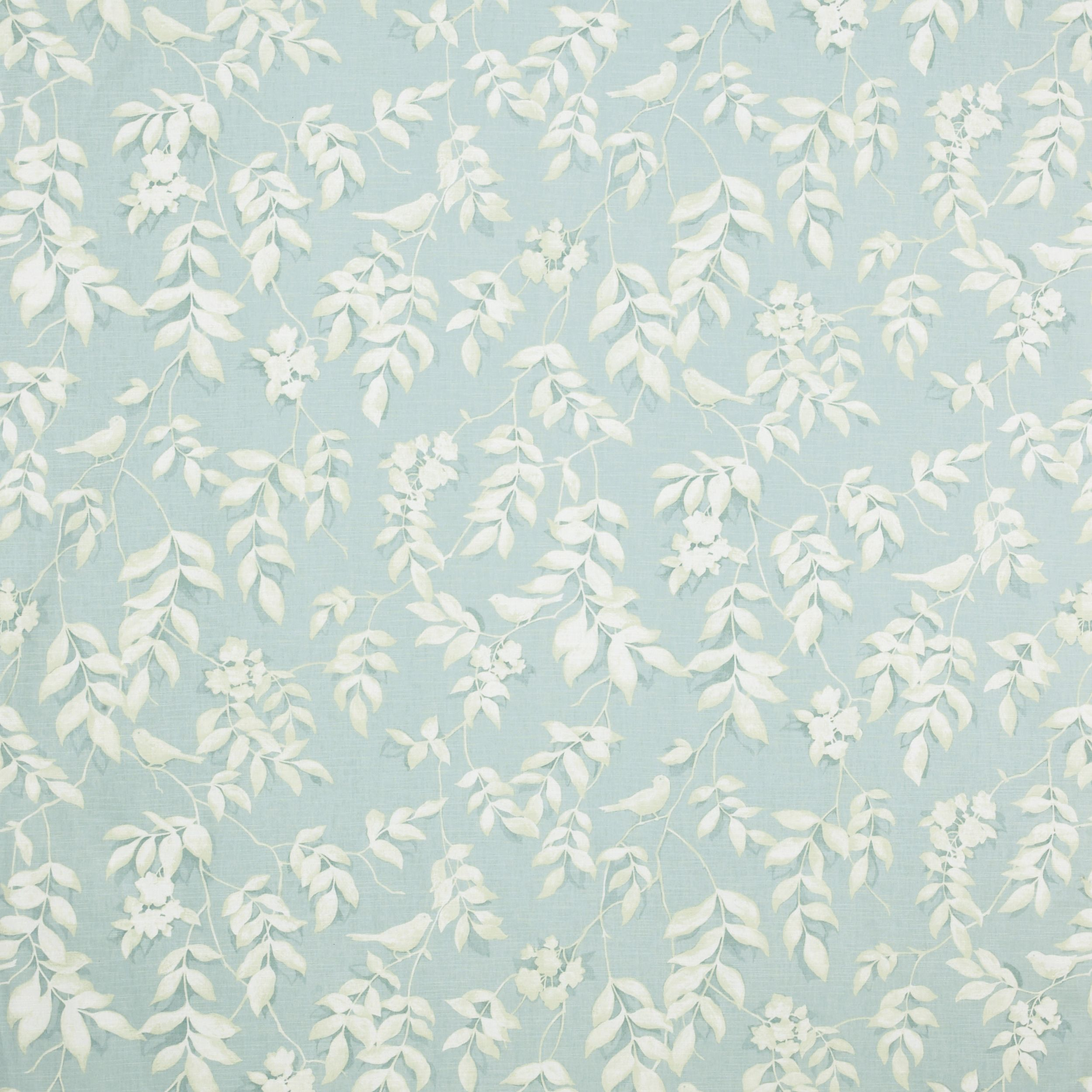 Laura Ashley Lockwood Print Cotton Linen Curtain Fabric Duck Egg