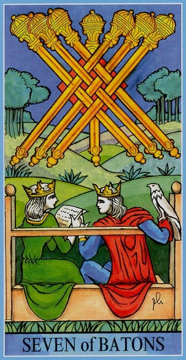Seven of Wands - Dame Fortune's Wheel Tarot by Paul Huson.
