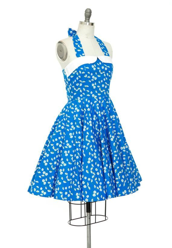 f76136d018 Summer Dress Daisy Dress Vintage Dress Floral Dress Blue Halter Dress 50s  Dress Party Dress Pin Up D