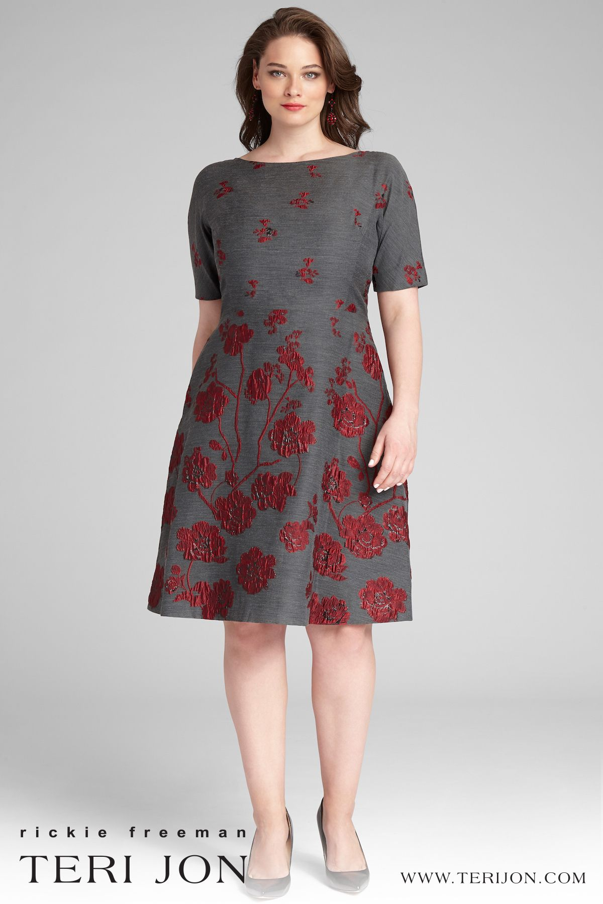 Gorgeous Grey And Red Floral Dress Fit And Flare Cocktail Dress Flare Dress Fit Flare Dress [ 1800 x 1200 Pixel ]