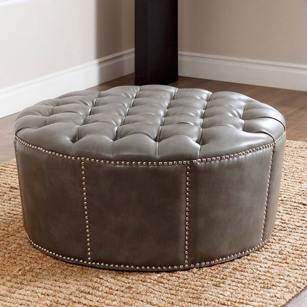 Merveilleux ABBYSON LIVING Newport Grey Leather Nailhead Trim Round Ottoman   Overstock  Shopping   Great Deals On Abbyson Living Ottomans