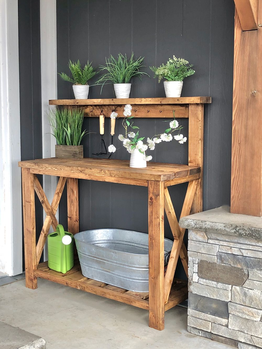 $50 DIY Farmhouse Potting Bench | Ana White