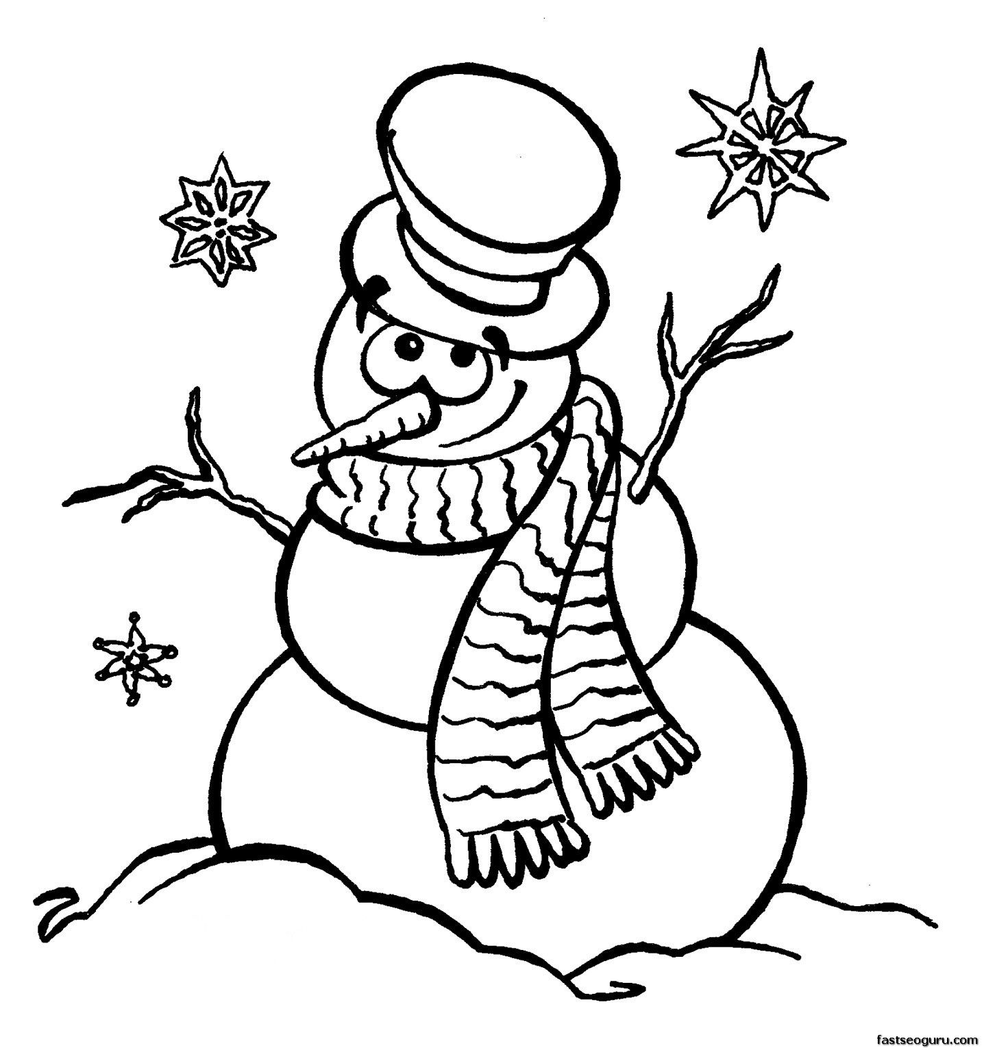 Printable coloring sheet snowman near Christmas.jpg (1436