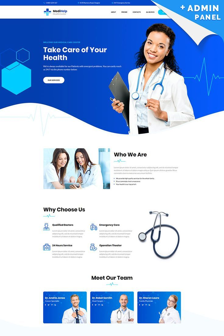 MediHelp - Health Center Landing Page Template #82788