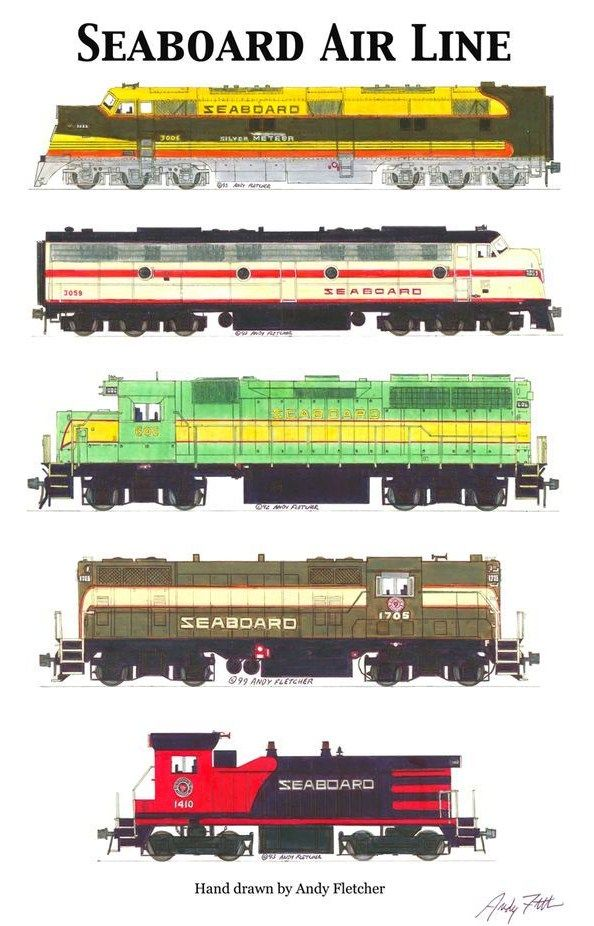 Seaboard Engines By Andy Fletcher Train Electrique Les Trains