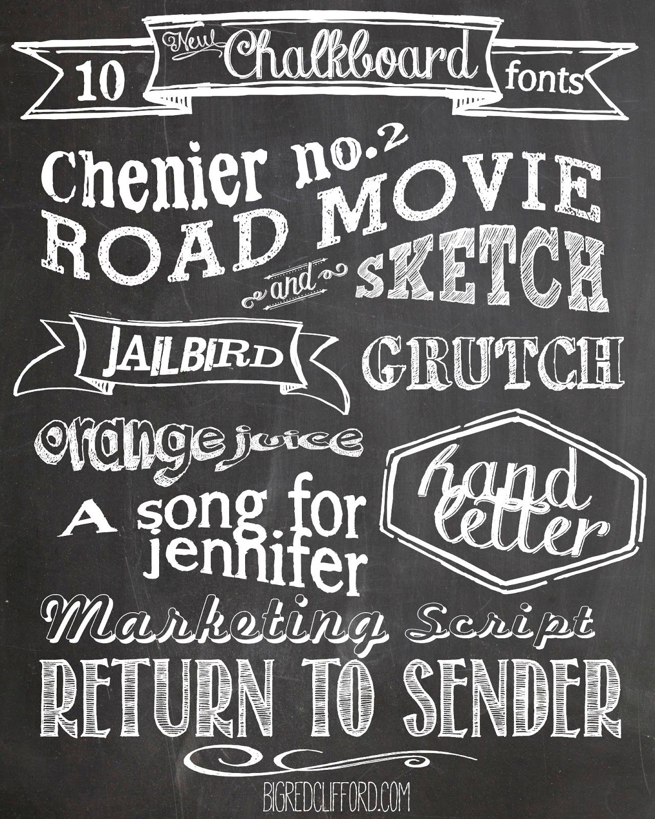 10 free chalkboard fonts a background and a v day printable from bigredclifford