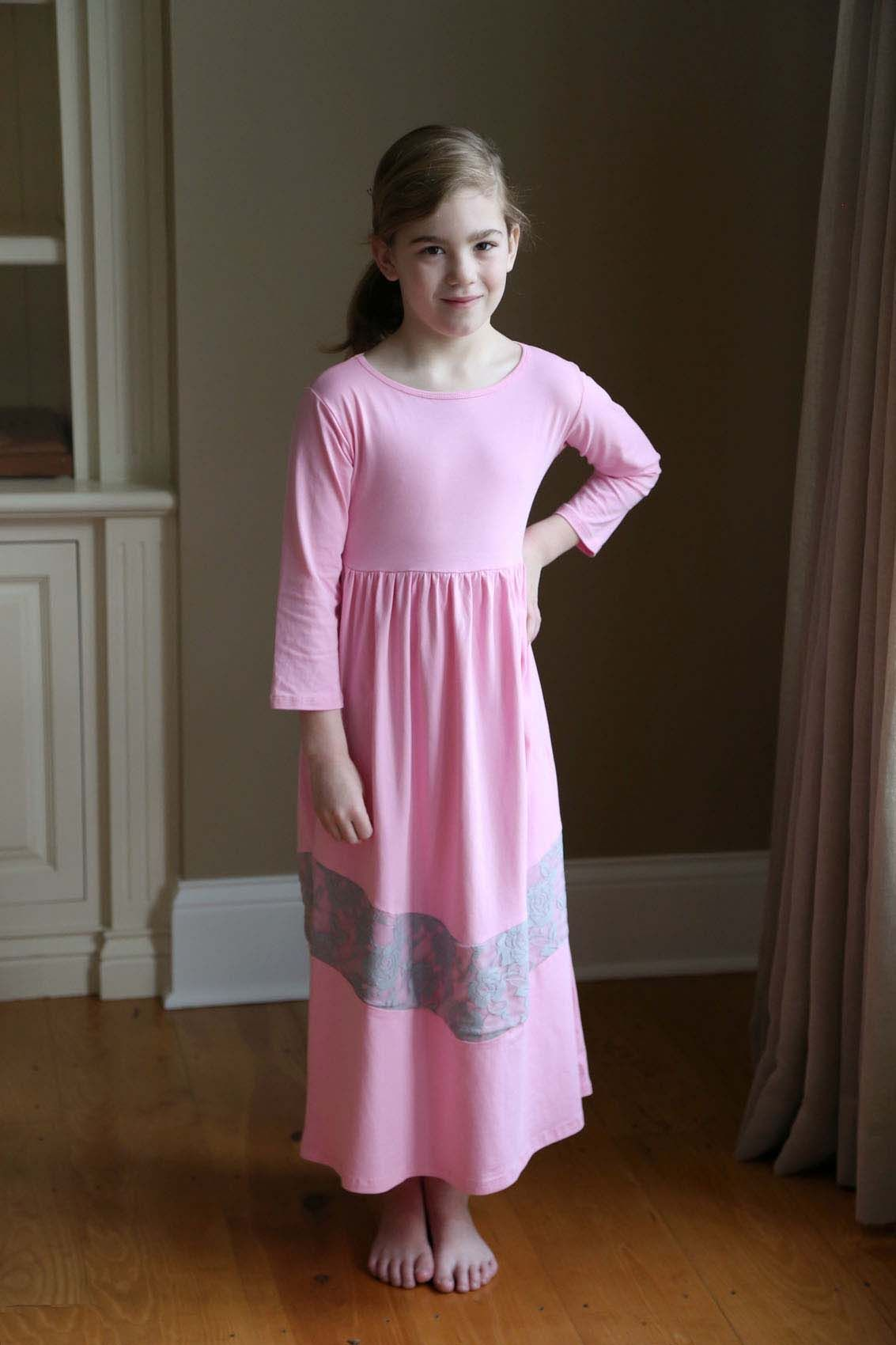 Girls Long Knit Modest Dress | Pink with Lace Insert | Girl's ...
