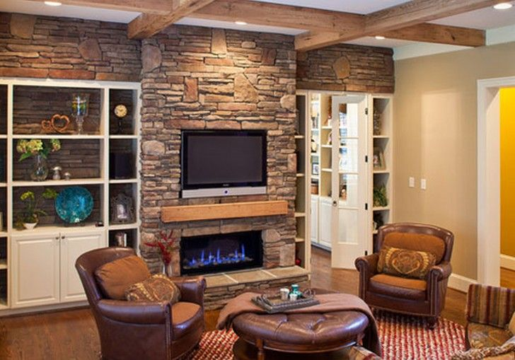 Interior Stacked Stone Fireplace With Rectangular Black