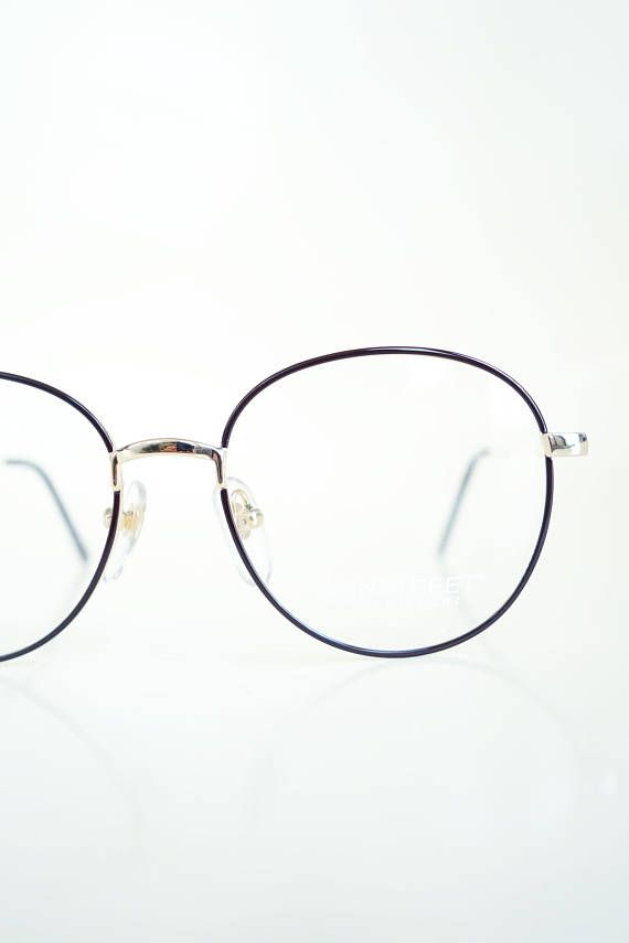 31d0639e21c2 Vintage 1980s Round Black Gold Glasses Hipster Eyeglasses Womens Geek Chic  Nerdy Sexy Librarian Shiny Metallic Indie 80s Eighties