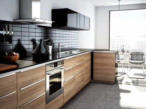 New Collection IKEA Kitchen Units, Designs And Reviews, Dark Surface Wood  Cabinets