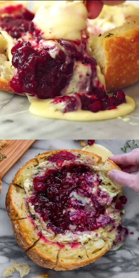 This tear apart Baked Cranberry Brie Bread Bowl is a beautiful holiday party appetizer. Melty brie and sweet tart cranberry sauce are a match made in heaven! Great Appetizer for New Years Eve, or Christmas Dinner! #bakedbrie #breadbowl #appetizer #bread #thanksgiving #thanksgivingrecipes #holiday #holidayrecipe #cranberry #brie #recipe #easyrecipe #christmasrecipe #newyearsrecipe #FoodRecipesParty