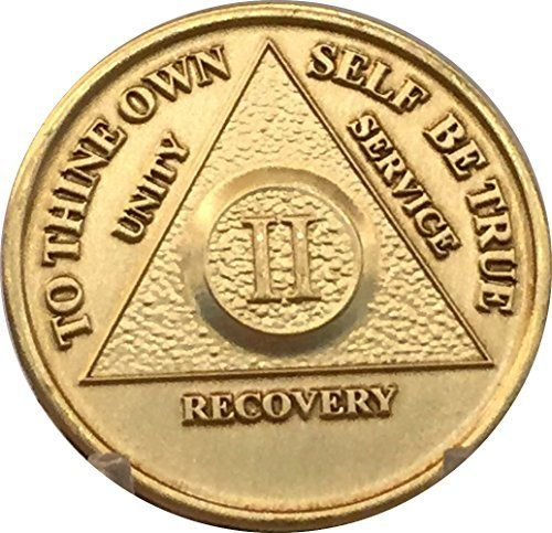 Alcoholics Anonymous AA 10 Year Anniversary Bronze Token Coin Sobriety