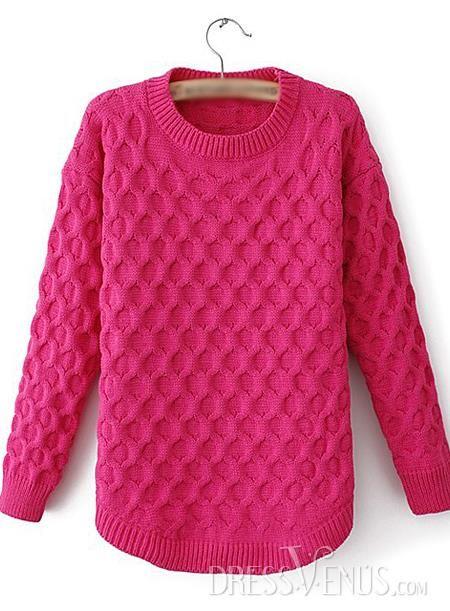 US$22.54 Best Pure Color Round Neckline Hemp Sweater. #Knitwear #Sweater #Hemp #Neckline