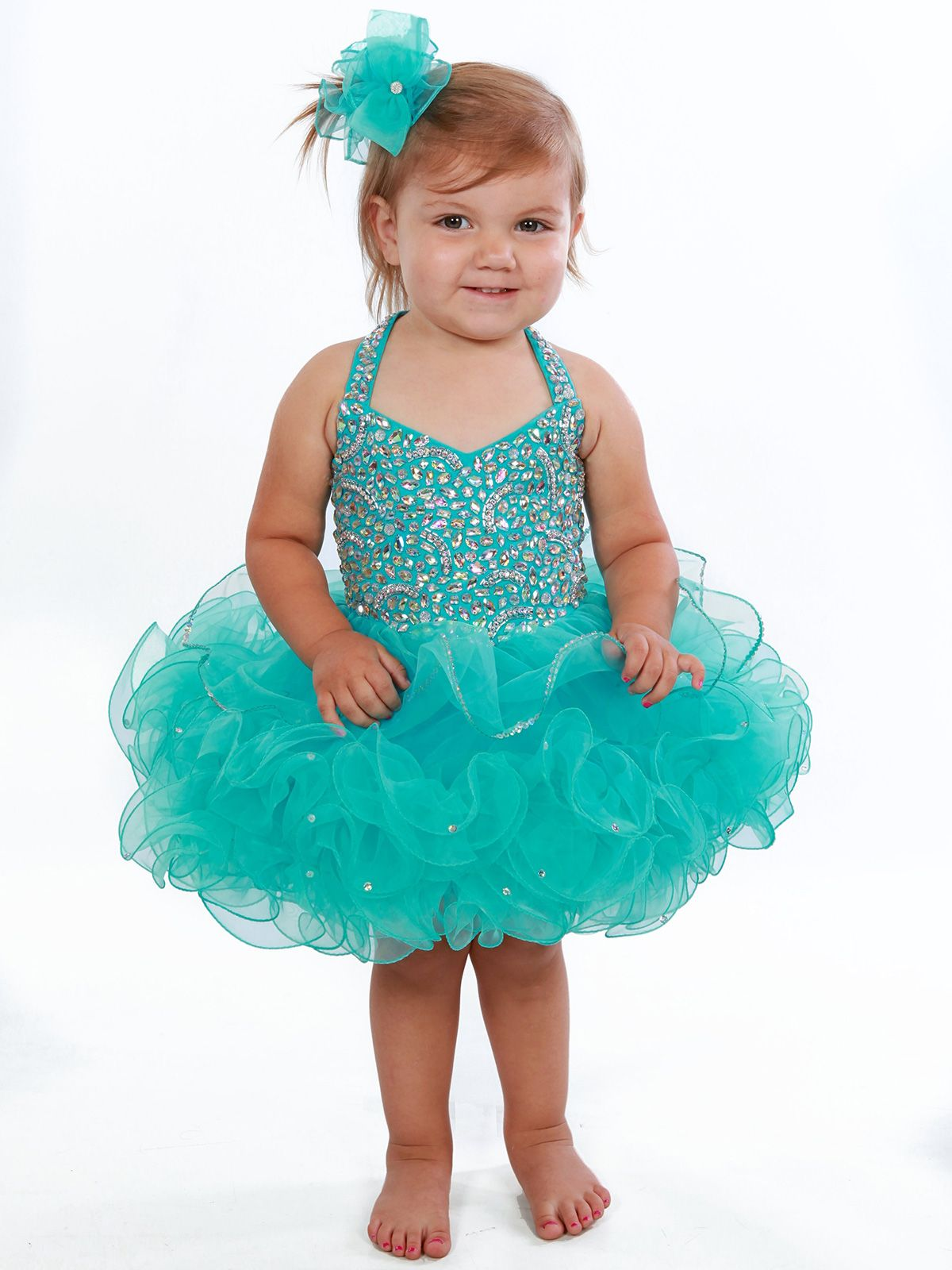 Unique Fashion UFB077 Halter Short Baby Pageant Dress PageantDesigns