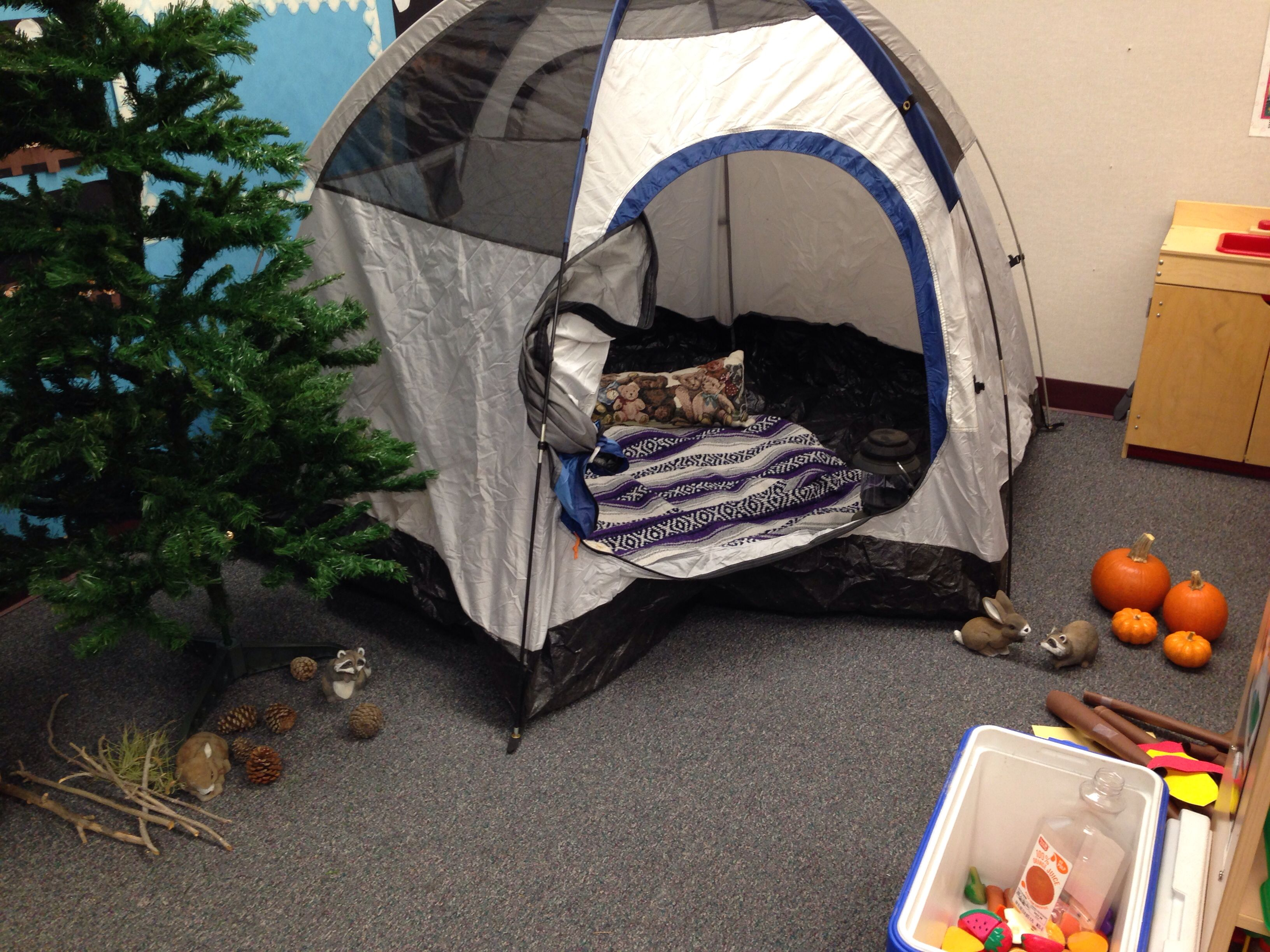 Only in Arizona is a camping dramatic okay appropriate in November!! #preschool #dramaticplay #camping