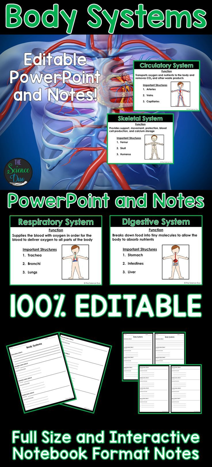 Body Systems PowerPoint and Notes Body systems, Human