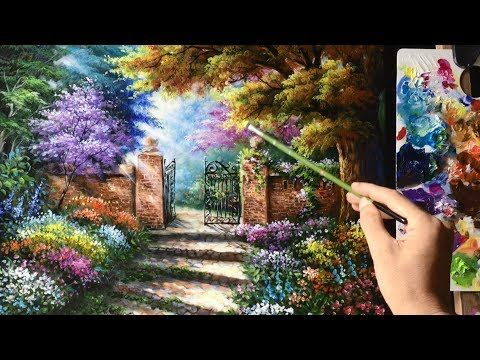Acrylic Landscape Painting Lesson House Beside The Waterfalls By