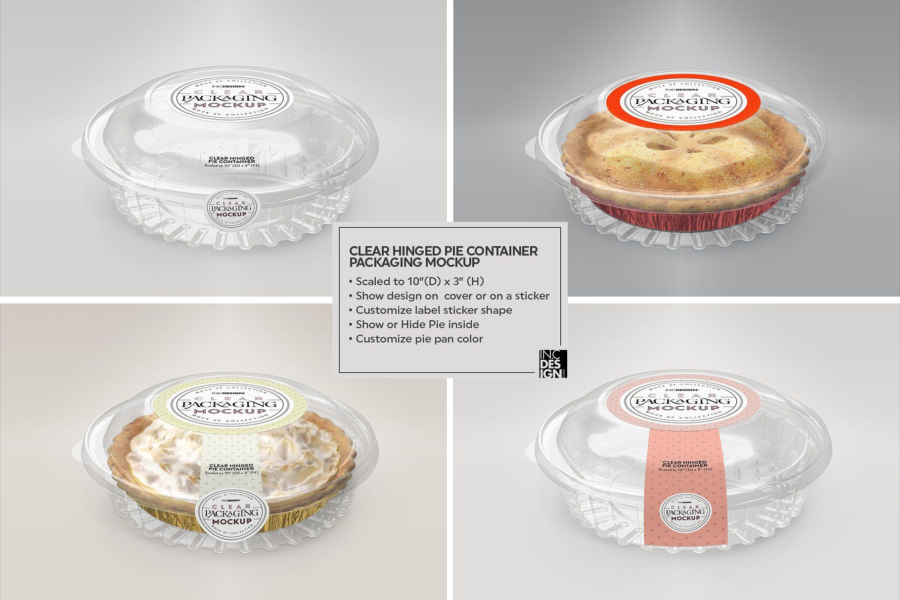 Download Clear Hinged Pie Container Mockup Kemasan Produk Ide Kemasan Kemasan