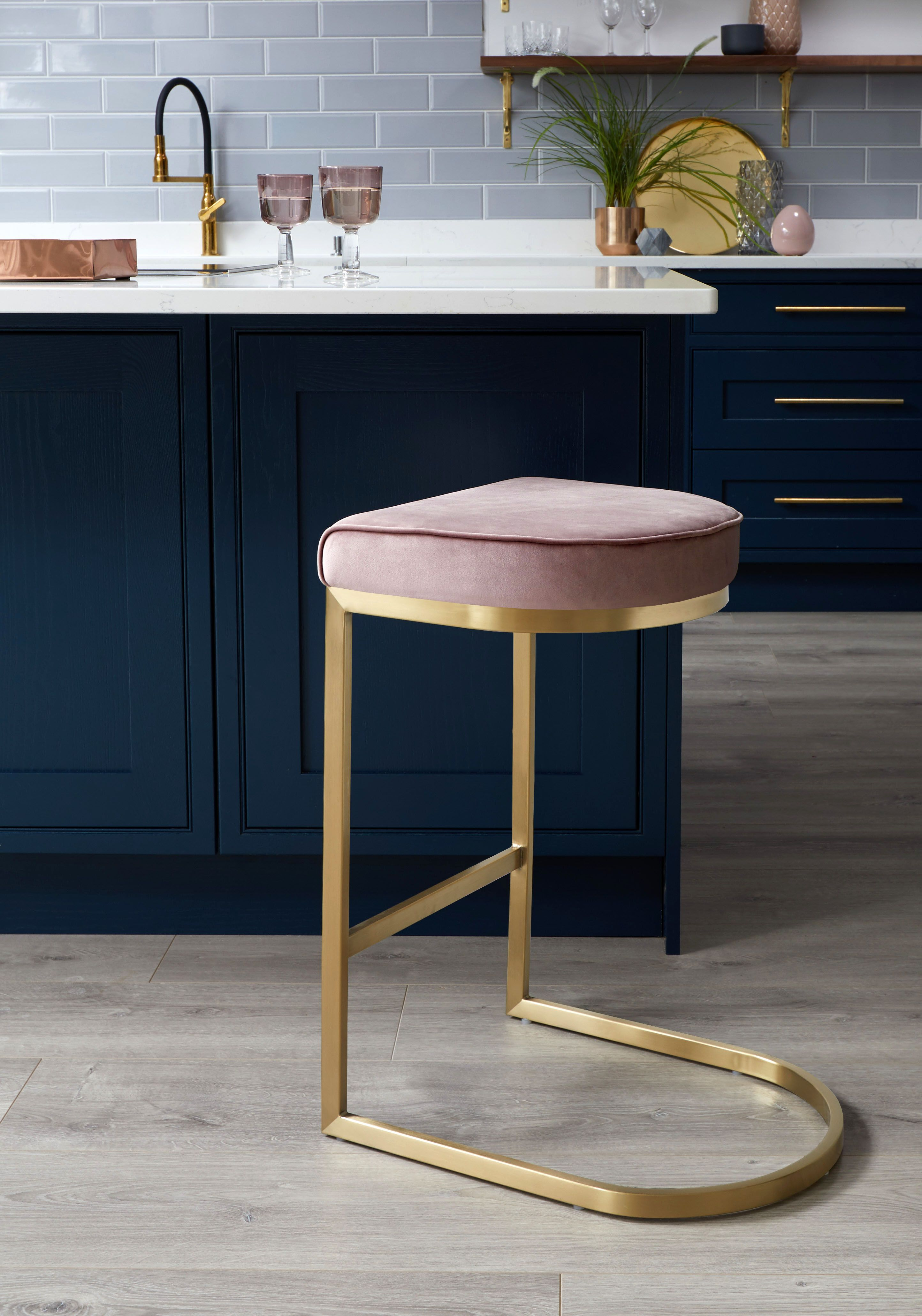 Form Brass And Velvet Bar Stools Kitchen Bar Stools Pink Bar Stools Brass Bar Stools