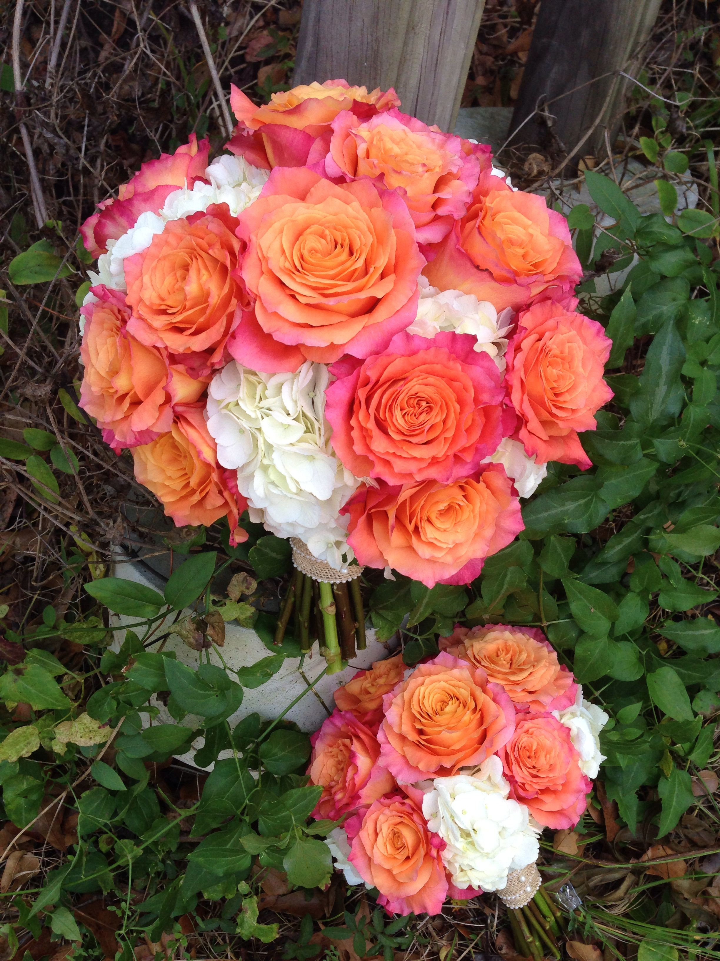 White Hydrangeas and Coral Free Spirit Rose bouquets My