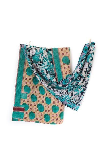 Handstitched cotton kantha throw Reclaimed cotton sari