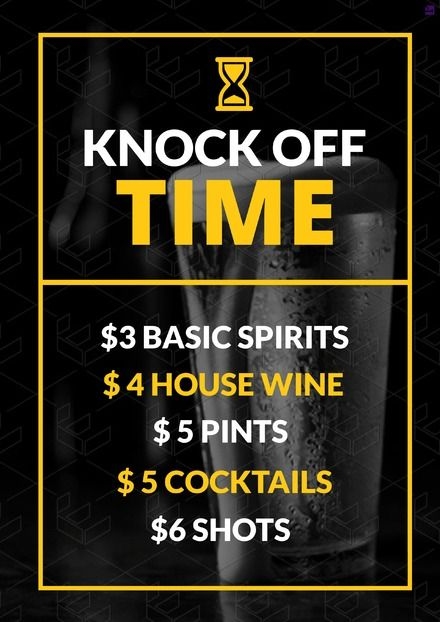 knock off time drinks promotion poster template customise your