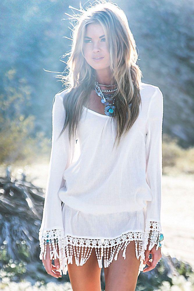 997e6723 Pareo tunika sukienka boho biała plażowa letnia sm | Wakacje | Boho ...