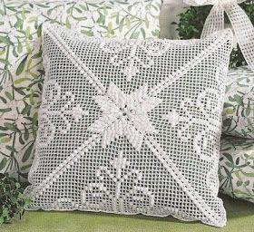 Almofada Em Croche Extremamente Branca Almofadas De Croche