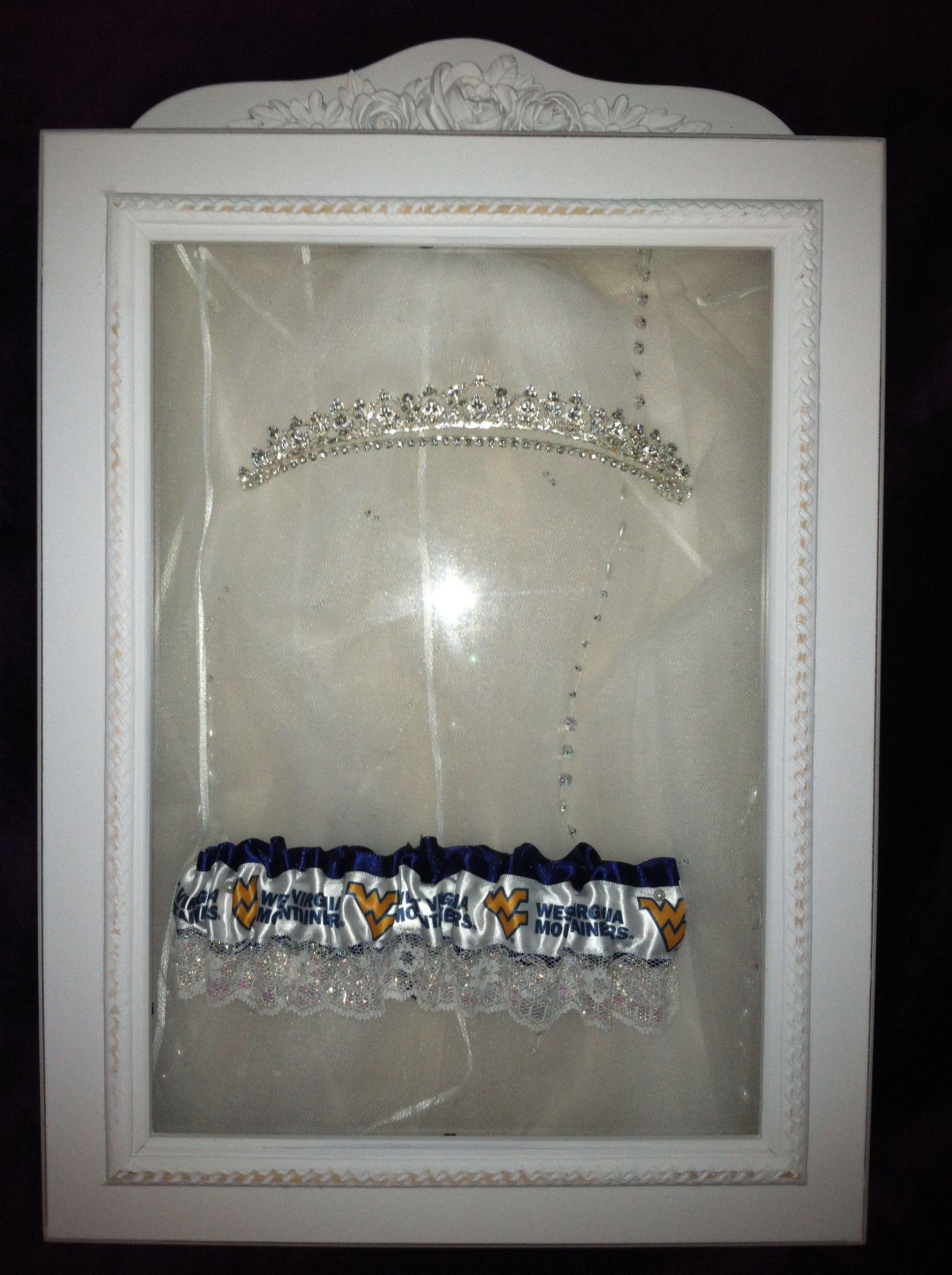 Shadowbox with veil, tiara, and garter. | Wedding Displays: Dress ...