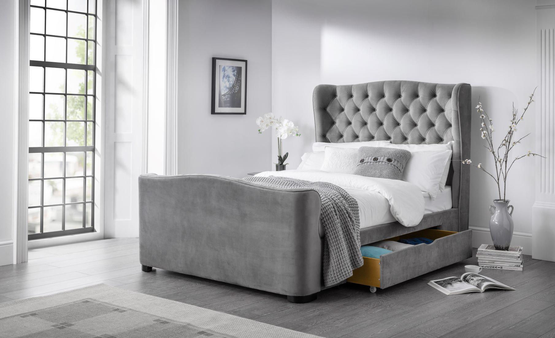Downton Grey Velvet Fabric 2 Drawer Storage Bed Storage Bed
