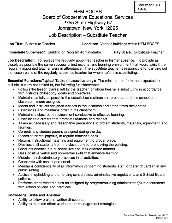 Substitute Teacher Job Description Resume