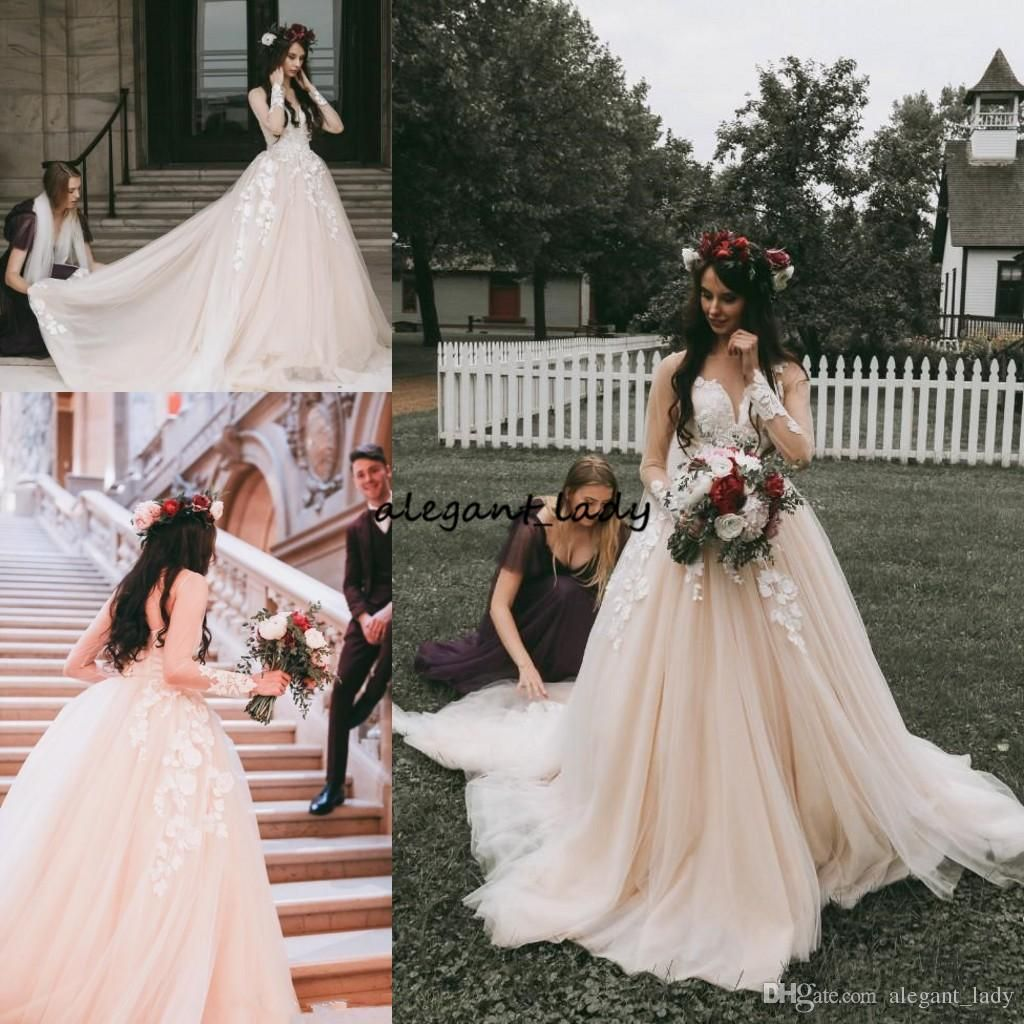 Discount2019 Blush Pink Wedding Dresses Long Sleeves Sheer Jewel Neck Illusion Vintage Lace Country Modest Champagne Wedding Gowns From Alegant Lady 132 72 Applique Wedding Dress A Line Wedding Dress Medieval Wedding Dress [ 1024 x 1024 Pixel ]
