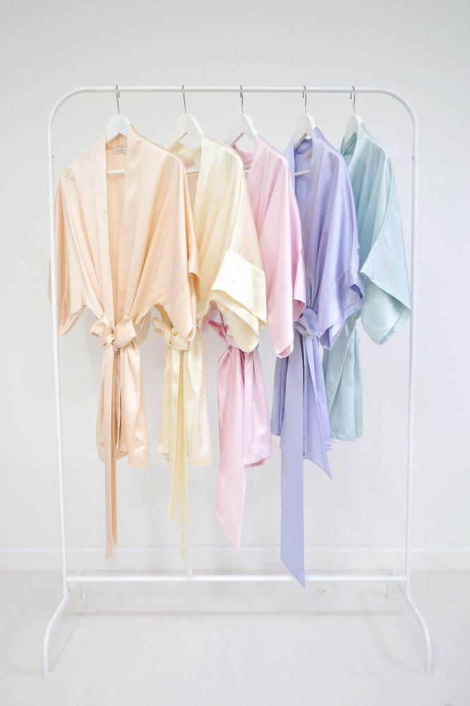 1d84c5d00a Samantha Silk bridal kimono bridesmaids robes in blush ivory ballet pink  lavender seafoam off white