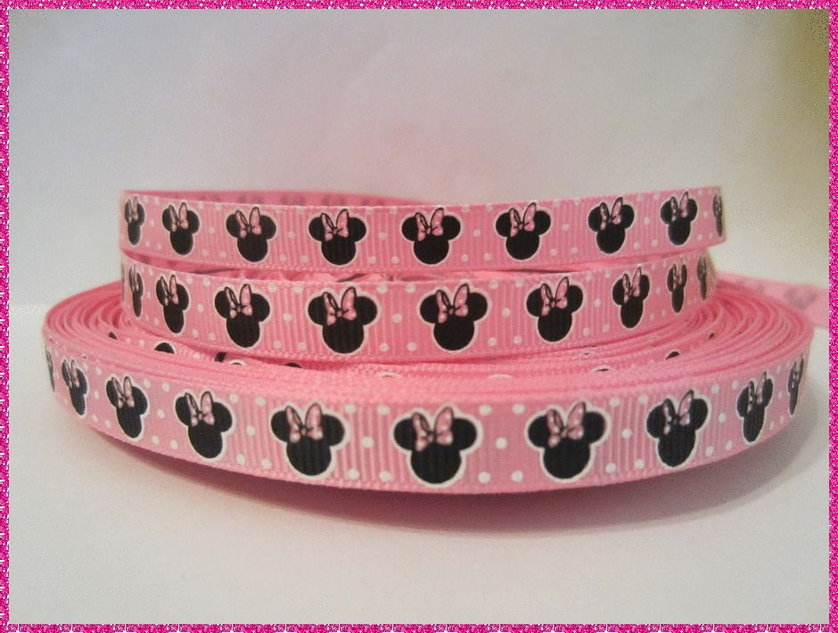 """GROSGRAIN MINNIE MOUSE 3//8/"""" INCH RIBBON FOR HAIR BOWS **SHIPS FREE**USA SELLER*"""