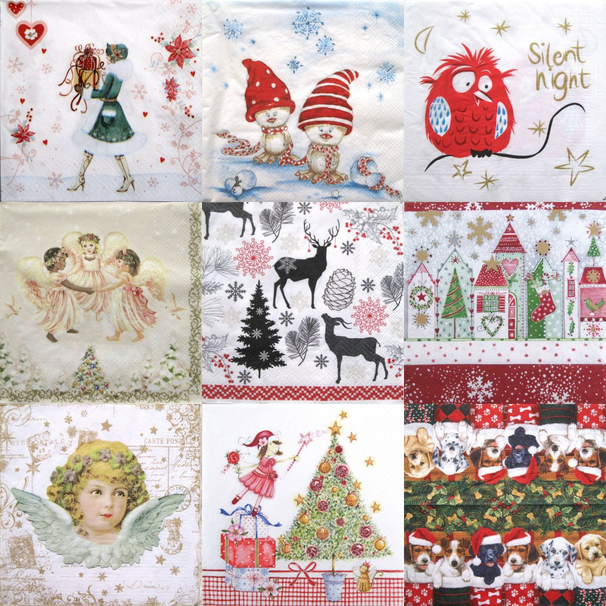 Christmas Decoupage paper napkins, Set of 10 decoupage paper