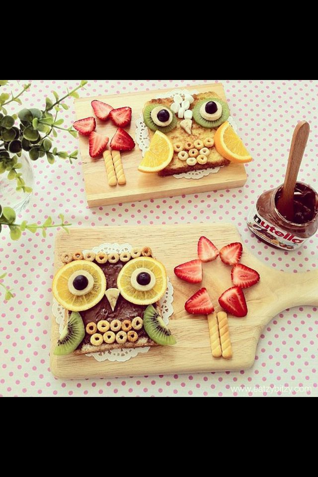 Creative & Fun Kids Food Snack - how cute is this owl and flower! Would your kids love the Nutella or plain one more?