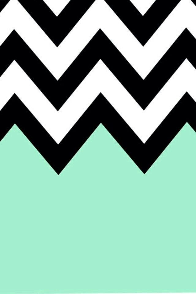 Mint Green Black And White Chevron Background