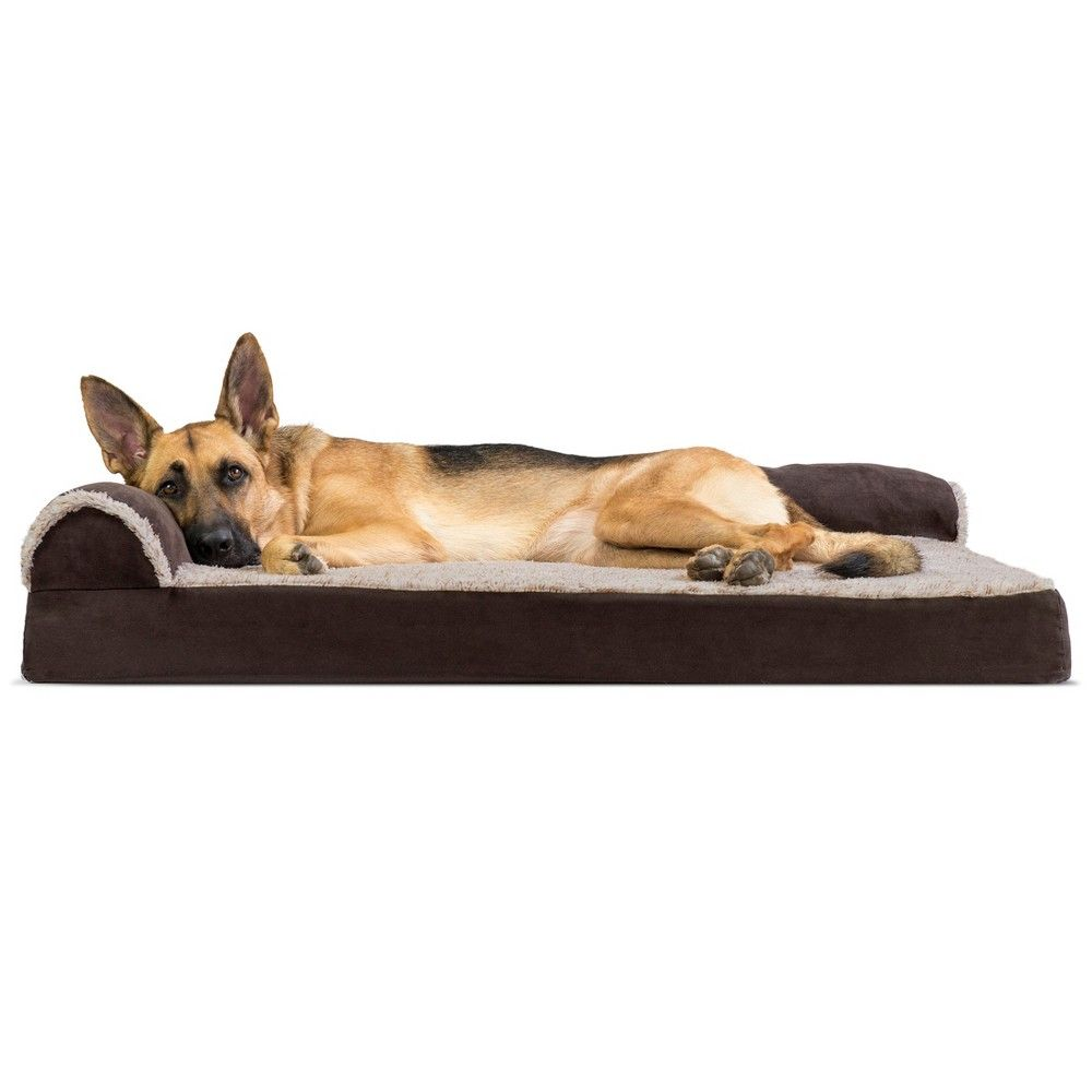 Furhaven Two Tone Faux Fur Suede Deluxe Chaise Lounge Memory Foam Sofa Dog Bed Jumbo Espresso In 2021 Dog Pet Beds Dog Bed Large Pet Sofa Bed